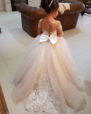 Sheer Neck Lace Appliqued Tulle Flower Girl Dress with Bowknot FG1006