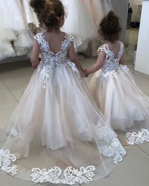 White Jewel Lace Appliqued A-line Flower Girl Dress for Fall FG1007