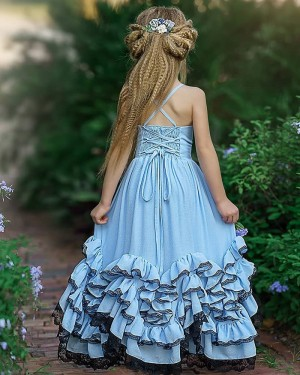 Elegant V-neck Sky Blue Satin Ruffled Girl Pageant Dress FG1008