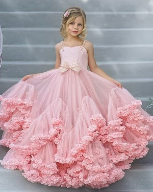 A-line Square Pink Tulle Ruffled Pageant Dress for Girls FG1009