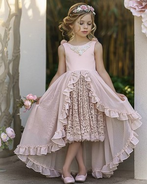 Jewel Neck Pink High Low Girls Pageant Dress with Lace Skirt FG1010