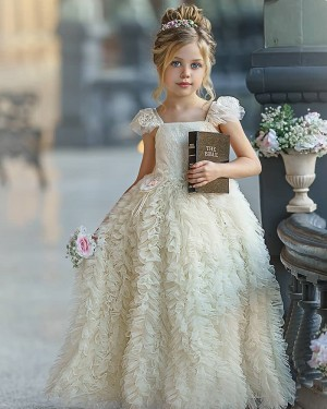 Square Neckline Ivory Ruffled Flower Girl Dress with Cap Sleeves FG1011