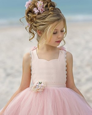 Scoop Pink Ball Gown Flower Girl Dress with Handmade Flowers FG1012