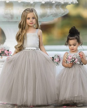 Square Neckline Grey Tulle Pleated Flower Girl Dress FG1013