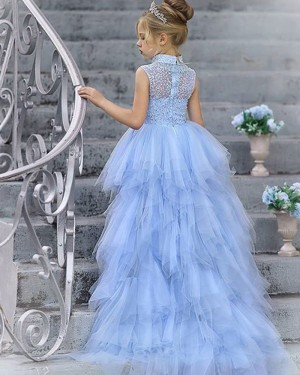 Light Blue High Neck Beading High Low Tulle Pageant Dress for Girls FG1014