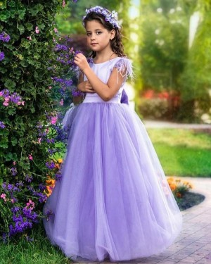 Jewel Lavender Tulle A-line Flower Girl Dress with Cap Sleeves FG1015