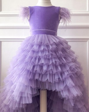 Lavender High Low Ruffled Flower Girl Dress with Cap Sleeves FG1016