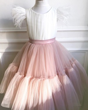 White & Pink Ruffled Tulle Flower Girl Dress with Cap Sleeves FG1017