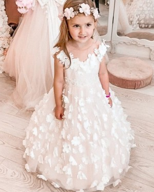 Sheer Neck White Flower Girl Dress with Handmade Flowers FG1018