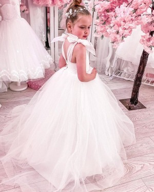 White Ruched Tulle A-line Flower Girl Dress FG1019