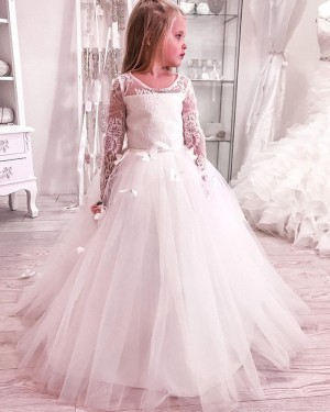 Scoop Lace Boidce Handmade Butterflies Flower Girl Dress with Long Sleeves FG1020