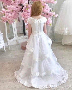Jewel Neck White First Communion Dress with Layered Skirts FG1021