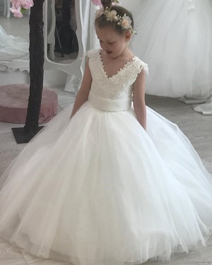 V-neck Lace Bodice White Tulle Flower Girl Dress FG1022
