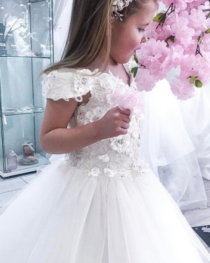 V-neck White Tulle Flower Girl Dress with Handmade Flowers FG1023