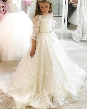 Elegant Jewel Neckline Beading A-line Pageant Dress for Girls with 3/4 Length Sleeves FG1024