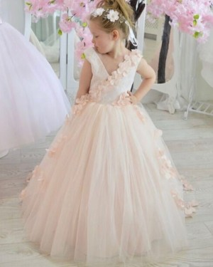 V-neck Pink Tulle Flower Girl Dress with Handmade Flowers FG1025