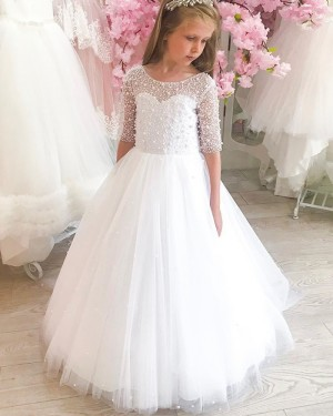 Bateau Neckline Beading White Tulle Pageant Dress for Girls FG1026