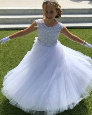 Jewel A-line Beading White Flower Girl Dress with Belt FG1028
