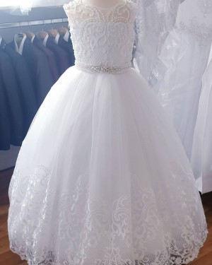 Jewel Neckline White Beading Lace Girl Dress with Belt FG1030