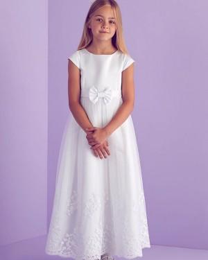 Jewel Neck Satin Appliqued First Communion Dress FG1031