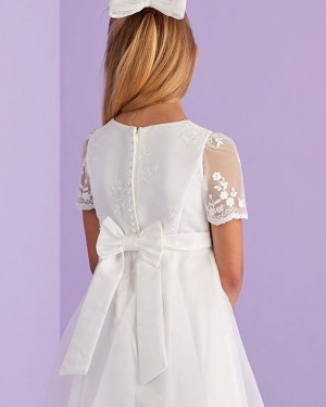 Jewel Neckline Lace Bodice Tulle White Communion Dress with Short Sleeves FG1032
