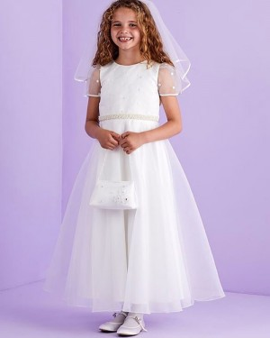 Jewel Neckline White Beading Tulle First Communion Dress with Short Sleeves FG1033