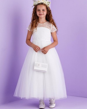 Jewel Lace Bodice Tulle White First Communion Dress with Short Sleeves FG1034