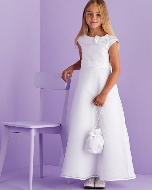 Jewel Neckline White Satin A-line First Communion Dress with Cap Sleeves FG1035