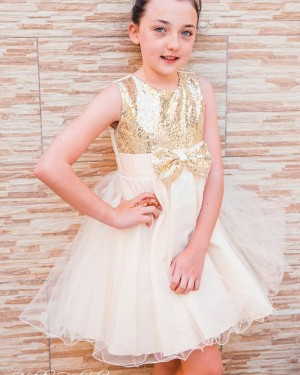 Jewel Neckline Sequin Bodice Flower Girl Dress with Bowknot FG1036