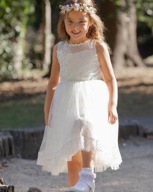 Jewel Neckline Lace Bodice White Tulle Flower Girl Dress FG1037