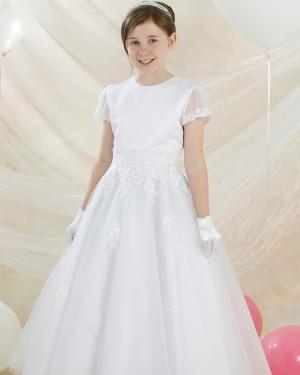 White Round Neckline Applique A-line First Communion Dress with Short Sleeves FG1038