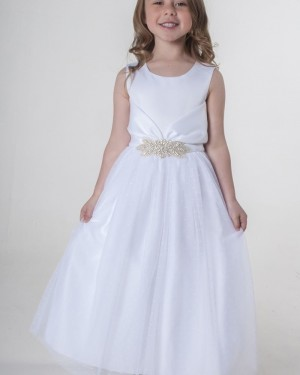 Scoop Neckline White Satin Flower Girl Dress with Belt FG1040