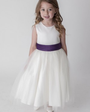 Jewel Neckline Ivory Flower Girl Dress with Sashes FG1041