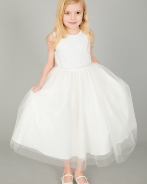 Jewel Lace Boidce White Flower Girl Dress with Beading Belt FG1042