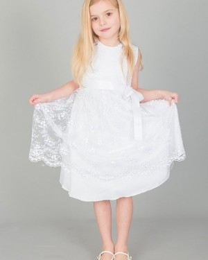 Jewel Neckline Lace White Flower Girl Dress with Sashes FG1043