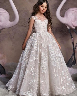 Ivory Beading Lace Appliqued A-line Flower Girl Dress FG1045