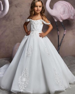 V-neck Lace Applique White Flower Girl Dress FG1046