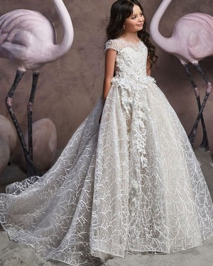 Jewel Neckline White Lace Handmade Flowers Flower Girl Dress with Cap Sleeves FG1047