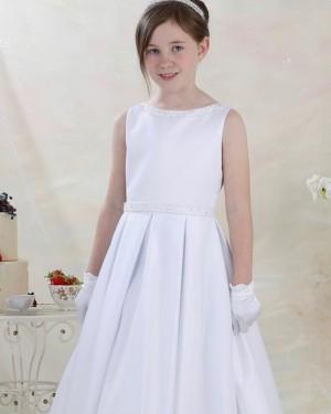 Jewel Neckline Beading White Satin First Communion Dress FG1048