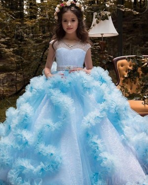 V-neck Lace Ruffled Pageant Dress with Beading Belt FG1049