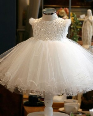 Round Neckline White Beading Bodice Tulle Flower Girl Dress with Cap Sleeves FG1050