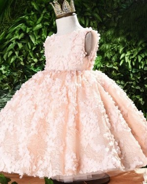 Bateau Handmade Flowers Pink Lace Flower Girl Dress FG1051