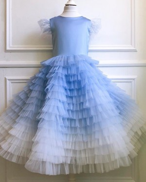 Tulle Ombre Ruffled Flower Girl Dress with Cap Sleeves FG1052