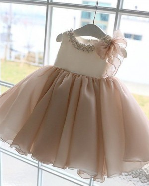 Bateau Neckline Ling Pink Beading Pleated Flower Girl Dress FG1053