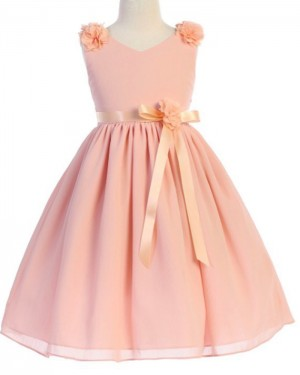 Coral Pink V-neck Pleated Flower Girl Dress with Sashes FG1054