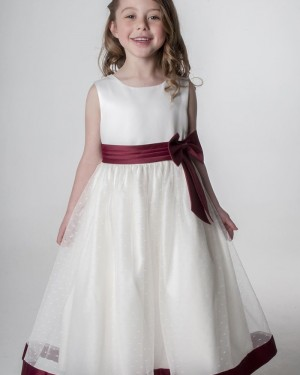Jewel White & Burgundy Flower Girl Dress with Beading Skirt FG1055