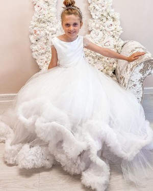 Bateau Neckline Beading White Tulle Flower Girl Dress with Feather Hem FG1056