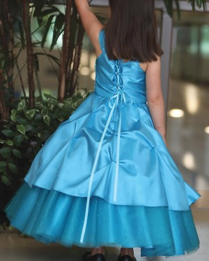 Navy Blue Satin Square Girl's Pageant Dress with Handmade Flowers