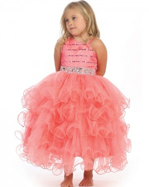 Asymmetric Beading Pink Ruffled Girl's Pageant Dress