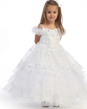 White Cold Shoulder Beading Ball Gown Girl's Pageant Dress
